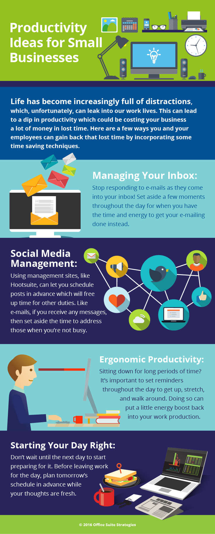 infographic with productivity ideas for small businesses